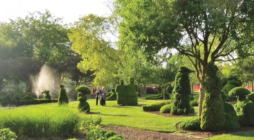 Multiple topiaries are pictured in the garden.