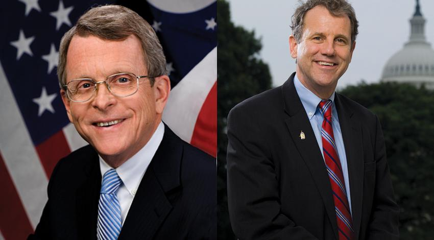 Side-by-side photos of Governor Mike DeWine and Senator Sherrod Brown