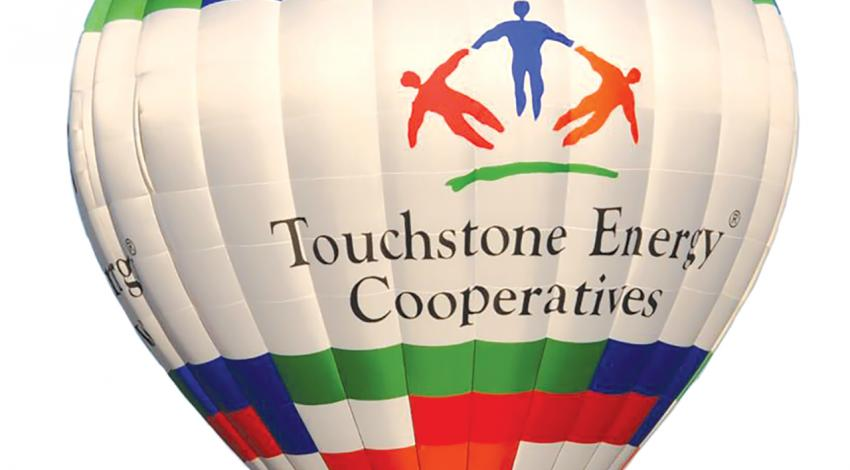 A hot-air balloon with the logo for Touchstone Energy Cooperatives
