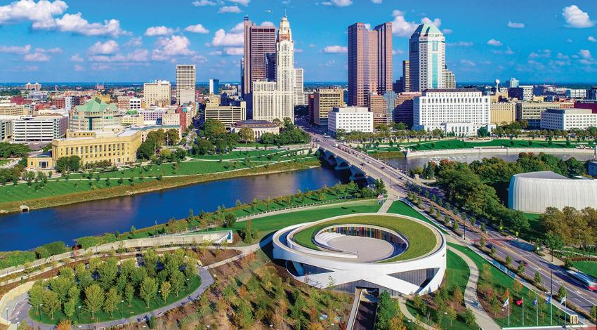 An aerial view of the city of Columbus.